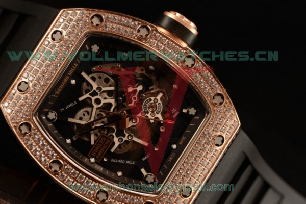 1:1 Richard Mille RM035-02 Black Toro Americas Japanese Miyota 9015 Auto Skeleton Dial With Rose Gold Case RM035-02